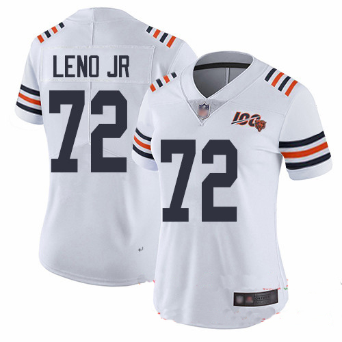 Bears #72 Charles Leno Jr White Alternate Women's Stitched Football Vapor Untouchable Limited 100th Season Jersey