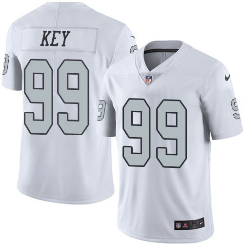 Nike Raiders #99 Arden Key White Men's Stitched NFL Limited Rush Jersey